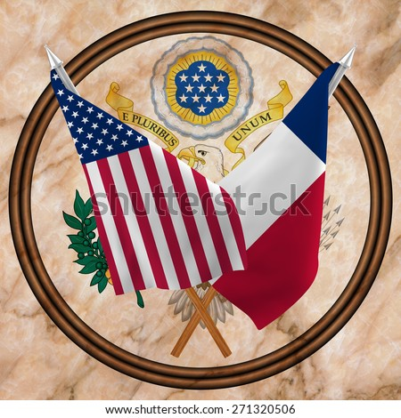 Flag of the United States of America with the  Flag of Texas isolated ,and Great Seal Of The USA(obverse) - stock photo