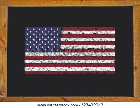 Flag of the United States on a blackboard  - stock photo