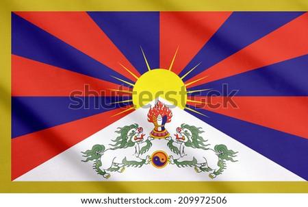 Flag of Tibet waving  - stock photo