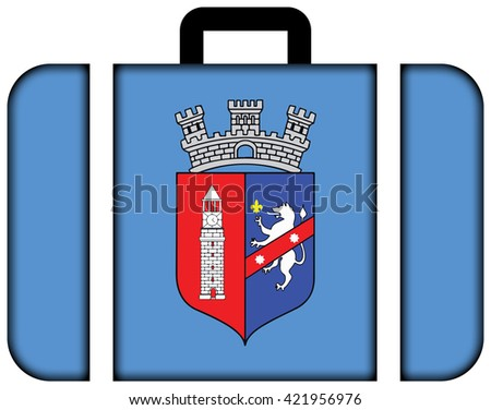 Flag of Tirana. Suitcase icon, travel and transportation concept