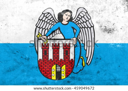 Flag of Torun, Poland, with a vintage and old look - stock photo