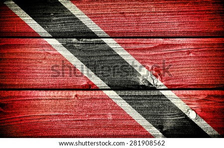 flag of Trinidad and Tobago painted on old grungy wooden  background