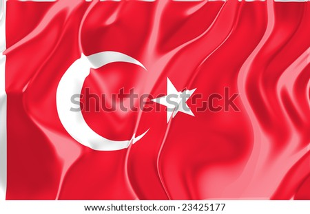 Flag of Turkey, national country symbol illustration