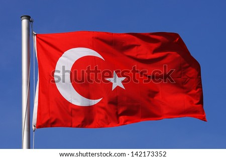 Flag of Turkey on a sunny day - stock photo