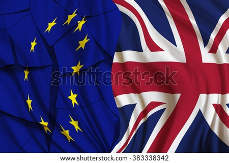 Flag of UK and EU on a cracked paint wall. A symbol of an uncertainty in the European Union after Britain's PM David Cameron call for an In/Out referendum - paving the way for a possible Brexit. - stock photo