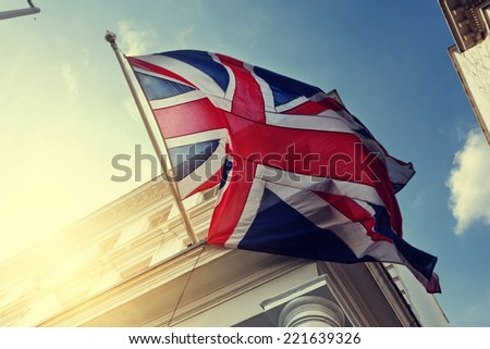 flag of UK on government building - stock photo