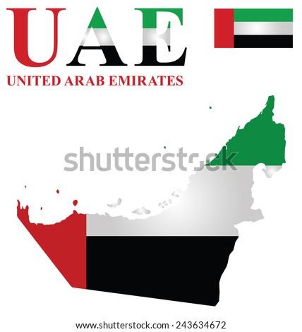 Flag of United Arab Emirates overlaid on outline map isolated on white background  - stock photo