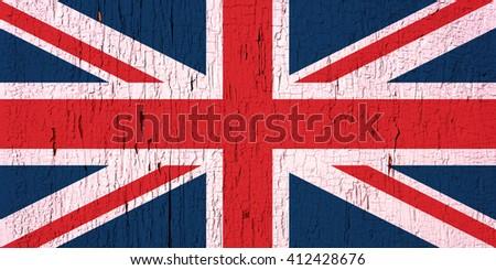 Flag of United Kingdom on peeled, textured, aged paint background - stock photo