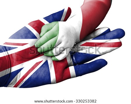 Flag of United Kingdom overlaid the hand of an adult man holding a baby hand with the flag of Italy overprinted. Conceptual image for help, aid, assistance, rescue. Isolated on white background - stock photo
