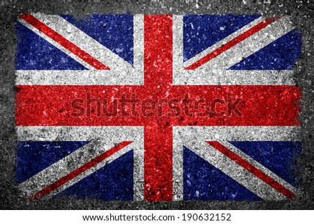 Flag of United Kingdom painted on concrete - stock photo
