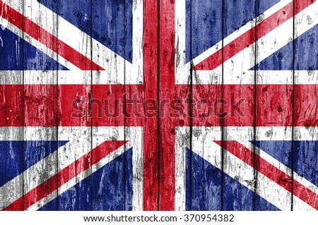 Flag of United Kingdom painted on wooden frame