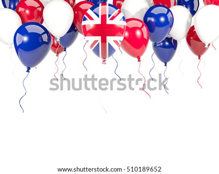 Flag of united kingdom, with balloons frame isolated on white. 3D illustration