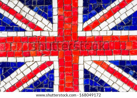 Flag of United Kingdom with mosaic texture - stock photo
