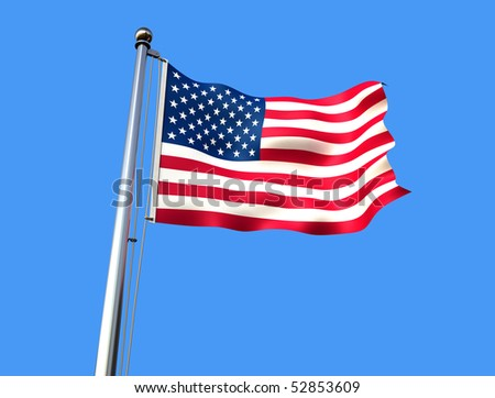 flag of united states against blue background