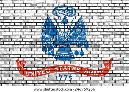 flag of United States Army painted on brick wall - stock photo