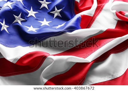 Flag of United States of America closeup - stock photo