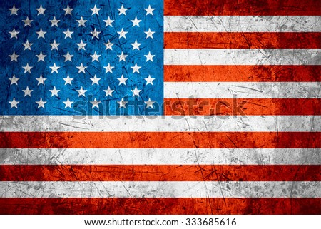 flag of United States or American banner on rough pattern metal background - stock photo