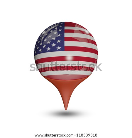 Flag of United States pin isolated on white.