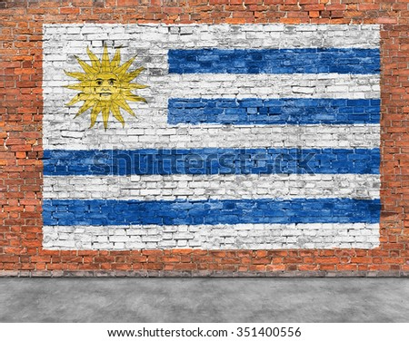 Flag of Uruguay painted on old brick wall
