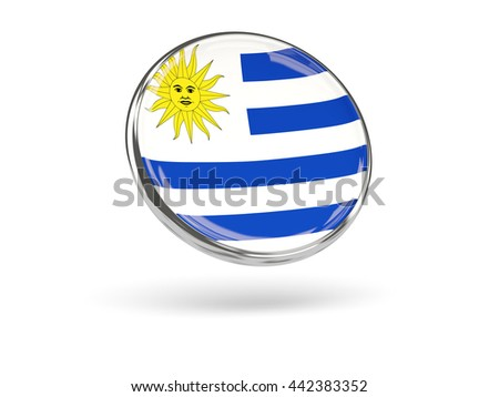 Flag of uruguay. Round icon with metal frame, 3D illustration - stock photo