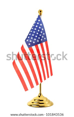 Flag of US hanging on the gold flagpole,Isolated on the white background - stock photo