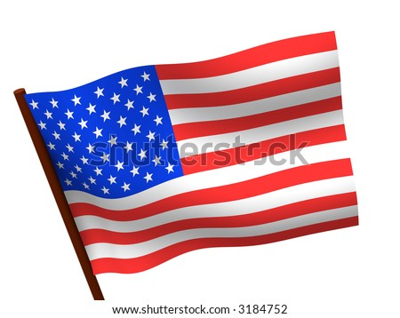 Flag of USA. 3d