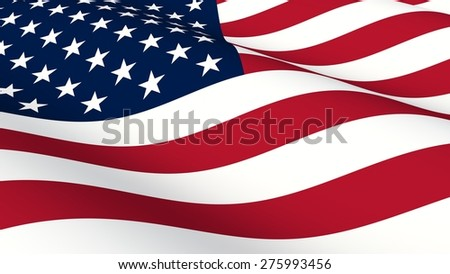 Flag of USA 3D ilustration - stock photo