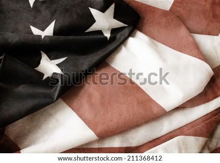 Flag of USA grunge style - stock photo