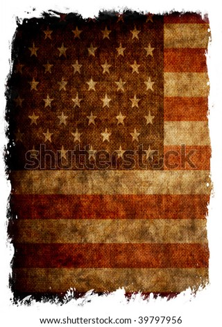 Flag of USA isolated over white - stock photo