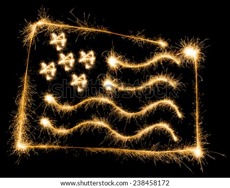 Flag of USA made of sparkles on black background - stock photo