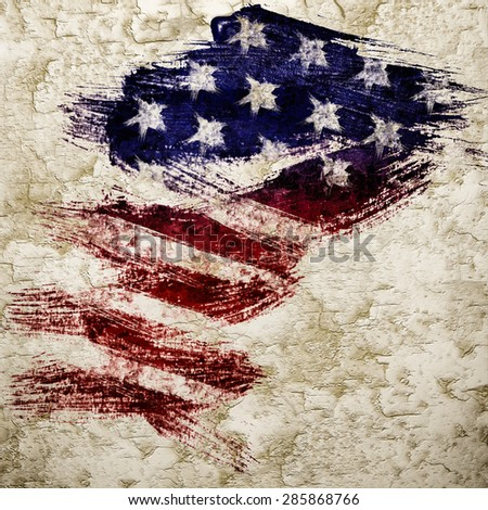Flag Of USA Painting on Grunge Wall - stock photo