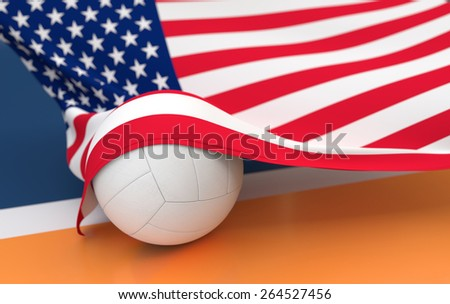 Flag of USA with championship volleyball ball on volleyball court