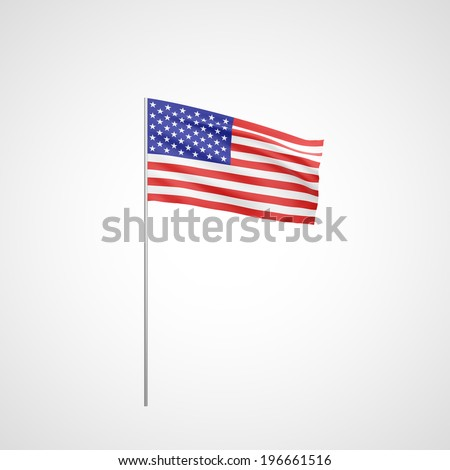 Flag of USA with flag pole waving in wind on white background