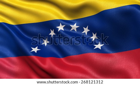 Flag of Venezuela with fabric texture waving in the wind - stock photo