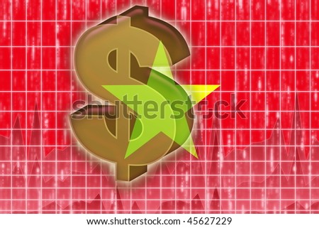Flag of Vietnam, national country symbol illustration finance economy dollar - stock photo