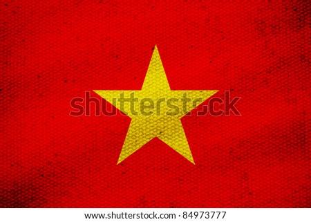 flag of Vietnam, yellow star on red screen Vietnam flag. - stock photo