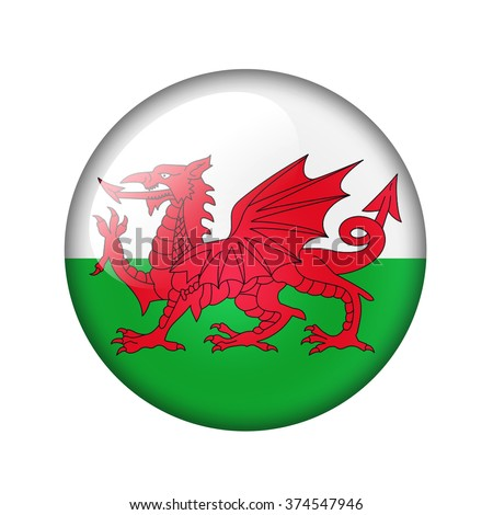 Flag of Wales. Round glossy icon. Isolated on white background.