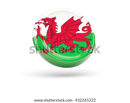 Flag of wales, round icon. 3D illustration - stock photo