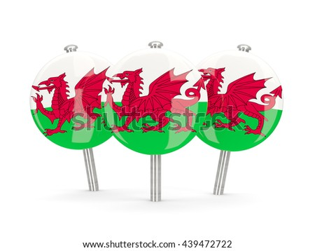 Flag of wales, round pins on white. 3D illustration - stock photo