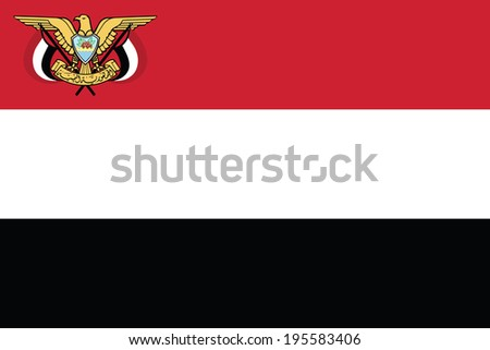 Flag of Yemen with Coat of Arms. Presidential standard. Accurate dimensions, elements proportions and colors. - stock photo