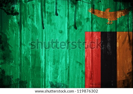 Flag of Zambia, image is overlaid with grunge texture