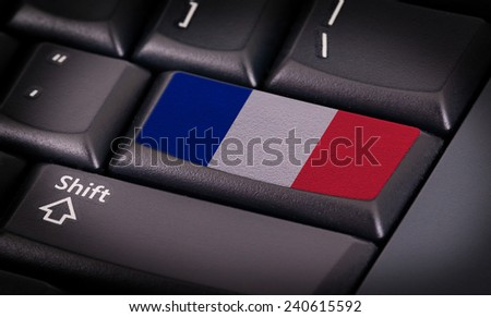 Flag on button keyboard, flag of France