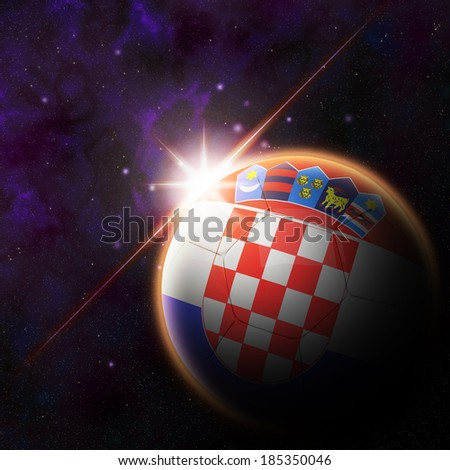 Flag on 3d football with rising sun illustration