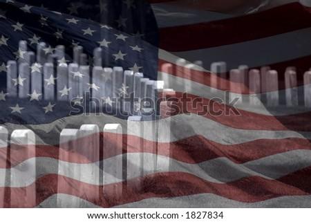 Flag Over Grave Stones - stock photo