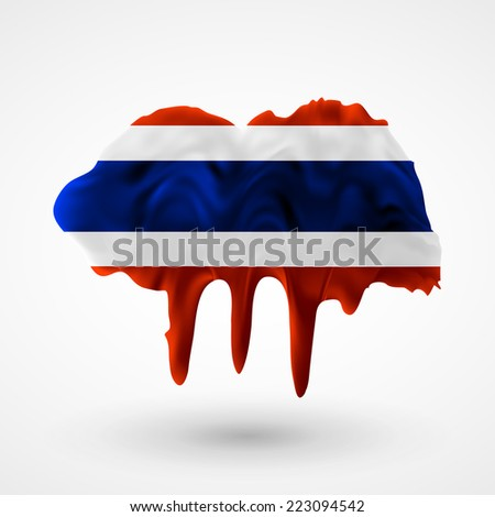 Flag painted colors. Blot with paint streaks with the national colors. Independence Day. International relations. Flag of Thailand. Use for brochures, printed materials, icons, logos, signs,  elements - stock photo