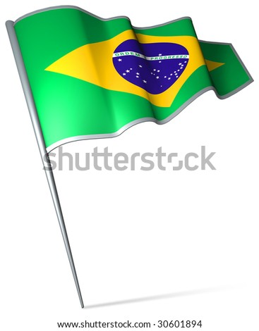 Flag pin - Brazil - stock photo