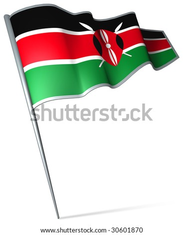 Flag pin - Kenya - stock photo