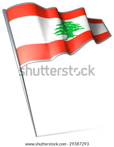 Flag pin - Lebanon - stock photo