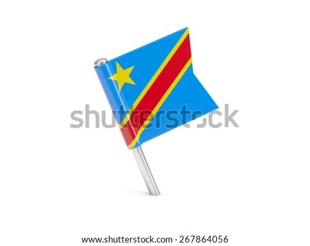 Flag pin of democratic republic of the congo isolated on white - stock photo
