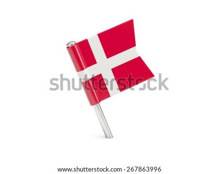 Flag pin of denmark isolated on white - stock photo